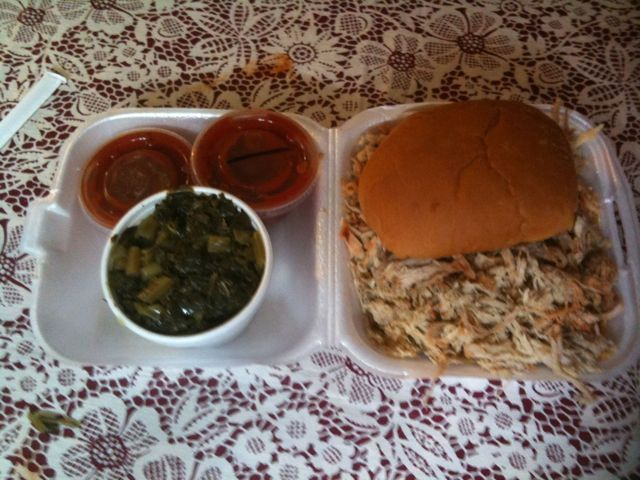 Chip BBQ pork sandwich, with both kinds of sauce and a side of collards