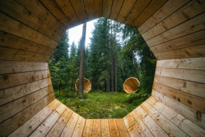 View through one large wooden megaphones in forest of two others