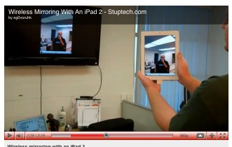 iPad2 screen mirrored wirelessly on an HDTV. This screenshot taken from the YouTube video demonstrating the hack